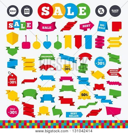 Banners, web stickers and labels. Sale speech bubble icon. Discount star symbol. Black friday sign. Big sale shopping bag. Price tags set.