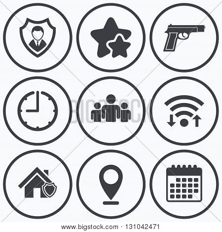 Clock, wifi and stars icons. Security agency icons. Home shield protection symbols. Gun weapon sign. Group of people or Share. Calendar symbol.