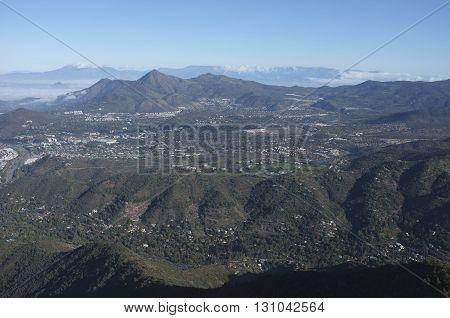 Santiago, capital city of Chile, viewed from Cerro Pochoco.
