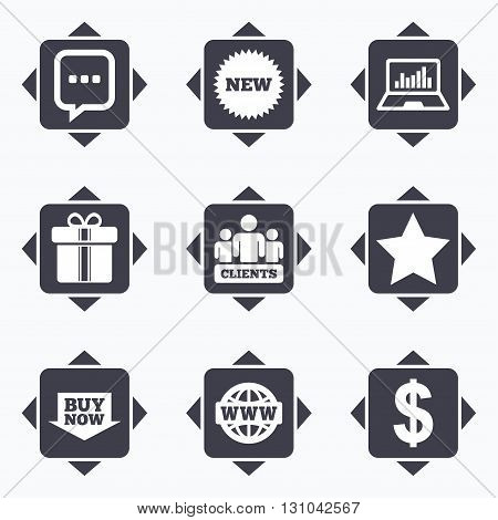 Icons with direction arrows. Online shopping, e-commerce and business icons. Gift box, chat message and star signs. Chart, dollar and clients symbols. Square buttons.