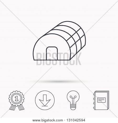 Greenhouse complex icon. Hothouse building sign. Warm house symbol. Download arrow, lamp, learn book and award medal icons.