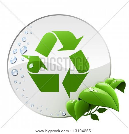 Round environmental label with recycling sign isolated on white background.