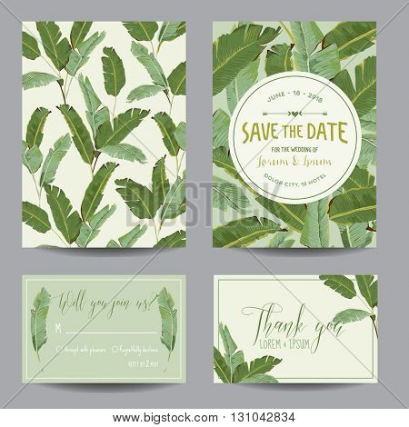 Save the Date Card. Tropical Banana Leaves. Wedding Card. Invitation Card. RSVP. Vector