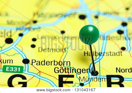 Gottingen pinned on a map of Germany
