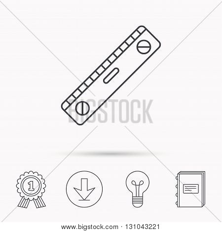 Level tool icon. Horizontal measurement sign. Download arrow, lamp, learn book and award medal icons.
