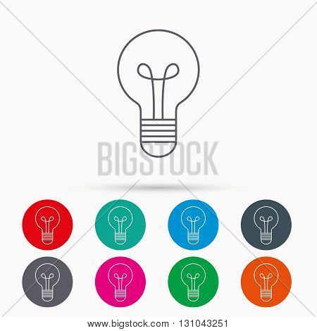 Lamp icon. Idea and solution sign. Linear icons in circles on white background.