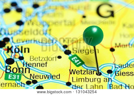 Wetzlar pinned on a map of Germany