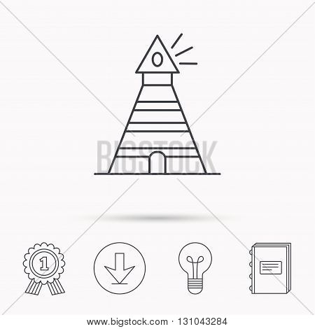 Lighthouse icon. Searchlight signal sign. Coast tower symbol. Download arrow, lamp, learn book and award medal icons.