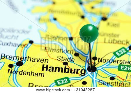 Hamburg pinned on a map of Germany