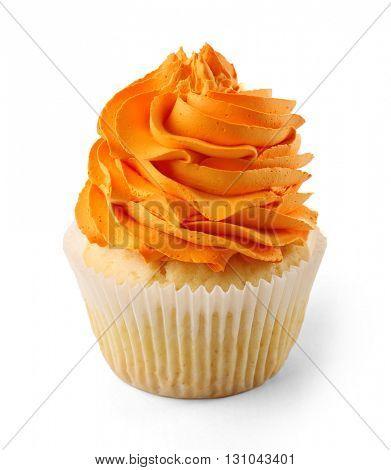 Birthday cupcake isolated on white