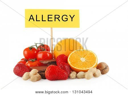 Set of allergic food isolated on white