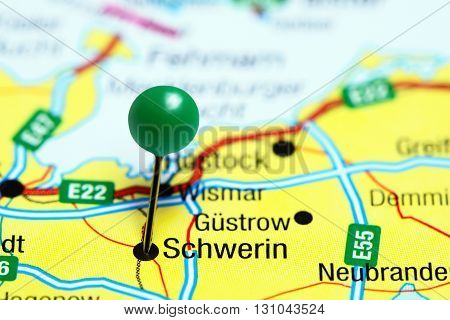 Schwerin pinned on a map of Germany
