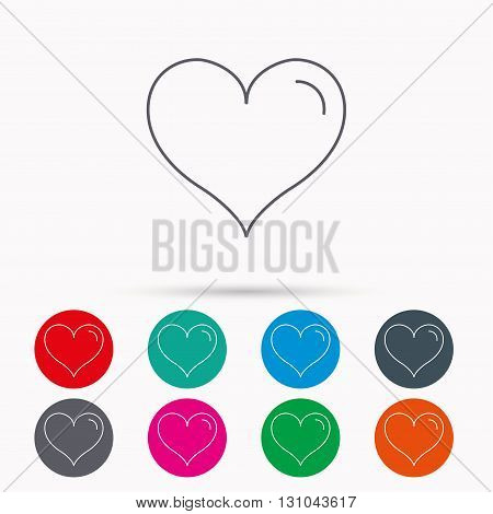 Love heart icon. Life sign. Linear icons in circles on white background.