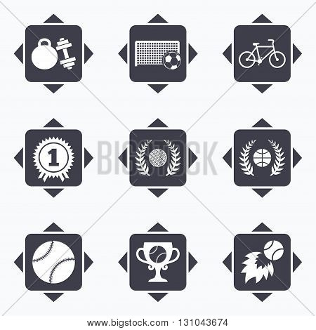Icons with direction arrows. Sport games, fitness icons. Football, basketball and tennis signs. Golf, bike and winner medal symbols. Square buttons.