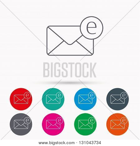 Envelope mail icon. Email message sign. Internet letter symbol. Linear icons in circles on white background.
