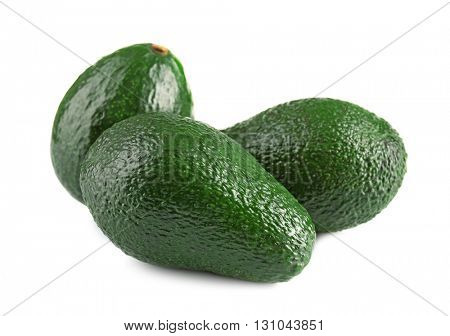 Fresh avocados isolated on white