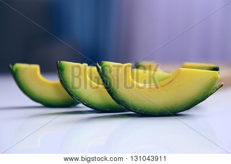 Sliced avocado on a table