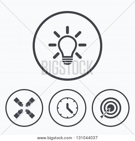 Lamp idea and clock time icons. Target aim sign. Darts board with arrow. Teamwork symbol. Icons in circles.