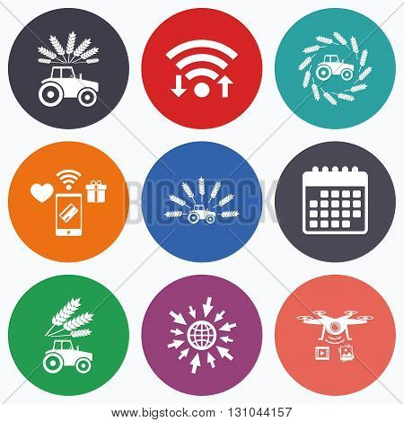 Wifi, mobile payments and drones icons. Tractor icons. Wreath of Wheat corn signs. Agricultural industry transport symbols. Calendar symbol.