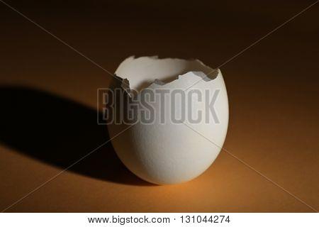 Cracked egg shell on dark beige background
