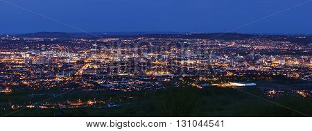 Aerial panorama of Belfast. Belfast Northern Ireland United Kingdom.