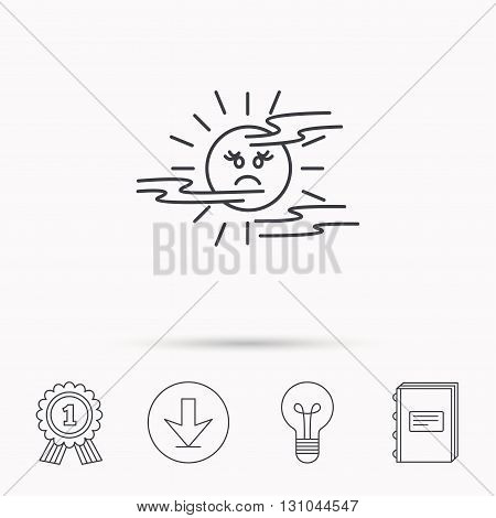 Mist icon. Fog with sun sign. Sunny smile symbol. Download arrow, lamp, learn book and award medal icons.