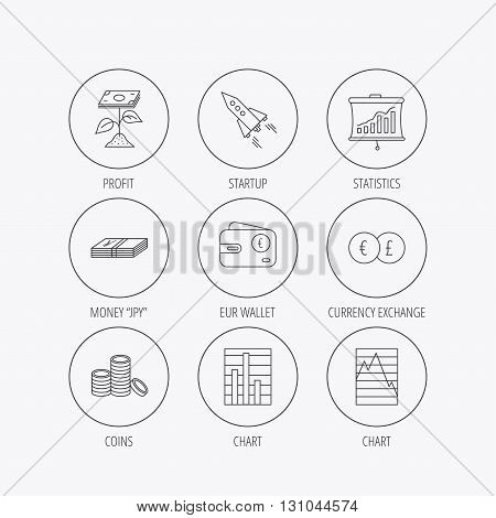 Profit investment, cash money and startup rocket icons. Wallet, currency exchange and euro linear signs. Chart, coins and statistics icons. Linear colored in circle edge icons.