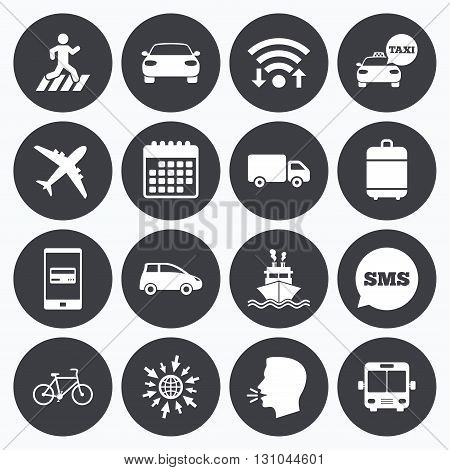 Wifi, calendar and mobile payments. Transport icons. Car, bike, bus and taxi signs. Shipping delivery, pedestrian crossing symbols. Sms speech bubble, go to web symbols.