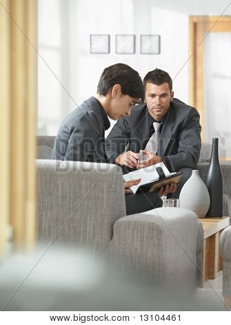 Business meeting at office lobby, young attractive businesswoman looking at organizer.