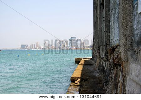 shore of the Mediterranean Sea and the port city of Tel - Aviv