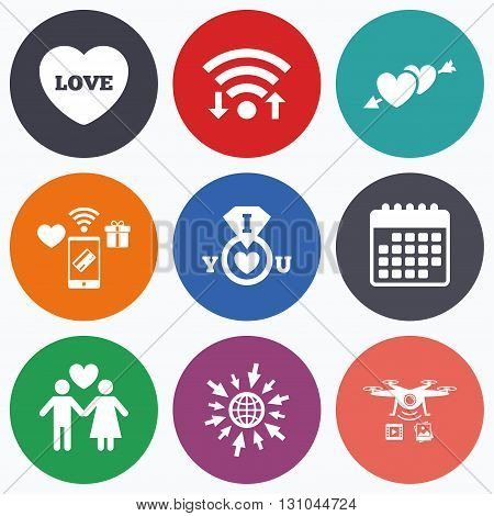 Wifi, mobile payments and drones icons. Valentine day love icons. I love you ring symbol. Couple lovers sign. Calendar symbol.