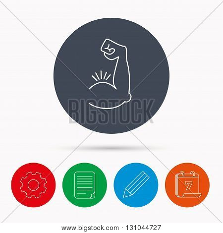 Biceps muscle icon. Bodybuilder strong arm sign. Weightlifting fitness symbol. Calendar, cogwheel, document file and pencil icons.
