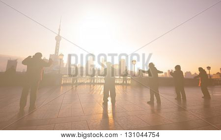 Exercising at Sunrise in Shanghai Culture Concept