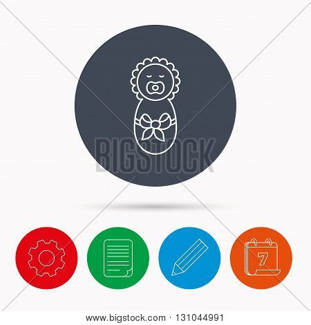 Newborn baby icon. Toddler with bow sign. Child wrapped in blanket symbol. Calendar, cogwheel, document file and pencil icons.