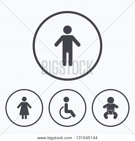 WC toilet icons. Human male or female signs. Baby infant or toddler. Disabled handicapped invalid symbol. Icons in circles.