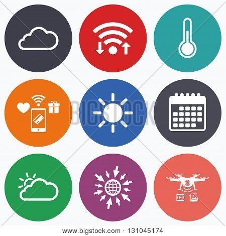 Wifi, mobile payments and drones icons. Weather icons. Cloud and sun signs. Thermometer temperature symbol. Calendar symbol.