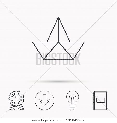 Paper boat icon. Origami ship sign. Sailing symbol. Download arrow, lamp, learn book and award medal icons.