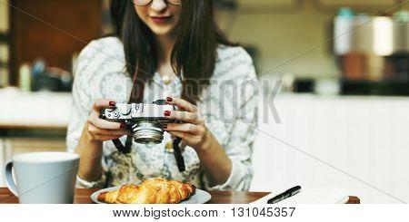 Woman Photographer Food Croissant Photography Concept