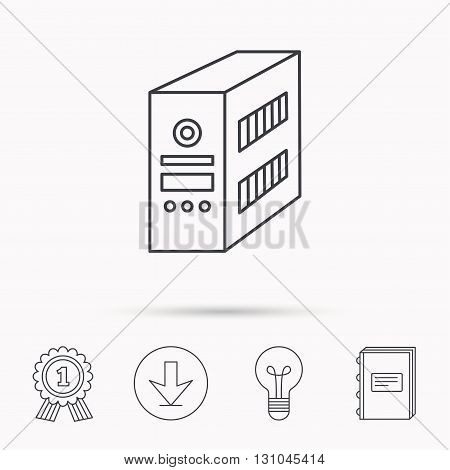 Computer server icon. PC case or tower sign. Download arrow, lamp, learn book and award medal icons.
