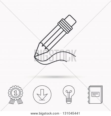 Pencil icon. Drawing tool sign. Study equipment. Download arrow, lamp, learn book and award medal icons.