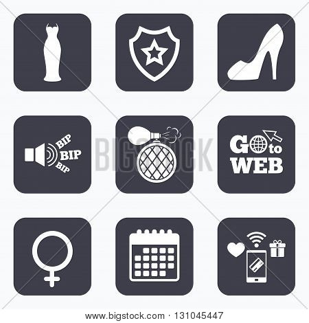 Mobile payments, wifi and calendar icons. Wedding dress icon. Women shoe sign. Perfume glamour fragrance symbol. Go to web symbol.