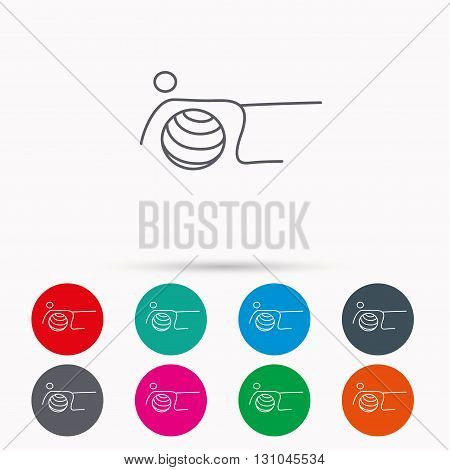 Pilates fitness sign. Gymnastic ball icon. Sport workout symbol. Linear icons in circles on white background.