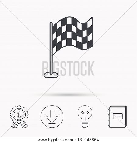 Racing flag icon. Finishing symbol. Download arrow, lamp, learn book and award medal icons.