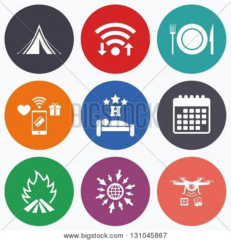 Wifi, mobile payments and drones icons. Food, sleep, camping tent and fire icons. Knife, fork and dish. Hotel or bed and breakfast. Road signs. Calendar symbol.