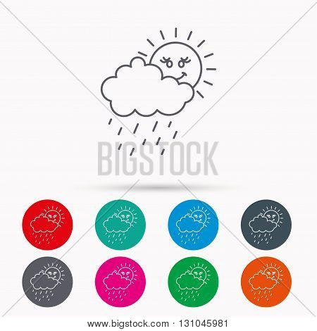 Rain and sun icon. Water drops and cloud sign. Rainy overcast day symbol. Linear icons in circles on white background.