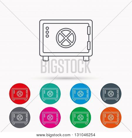Safe icon. Money deposit sign. Circle handle symbol. Linear icons in circles on white background.
