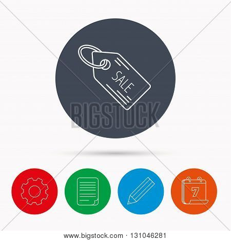 Sale shopping tag icon. Discount label sign. Calendar, cogwheel, document file and pencil icons.