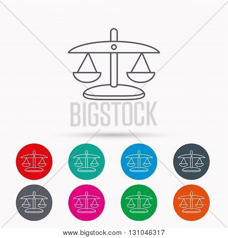 Scales of Justice icon. Law and judge sign. Measurement tool symbol. Linear icons in circles on white background.