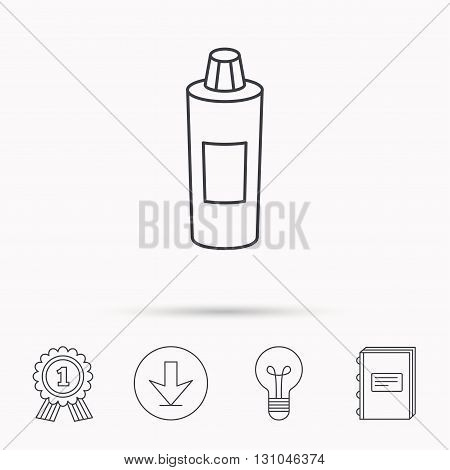 Shampoo bottle icon. Liquid soap sign. Download arrow, lamp, learn book and award medal icons.