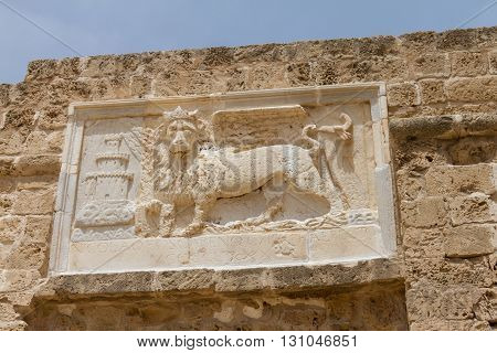 Sculpture Of The Winged Lion Of St Mark In Famagusta,cyprus